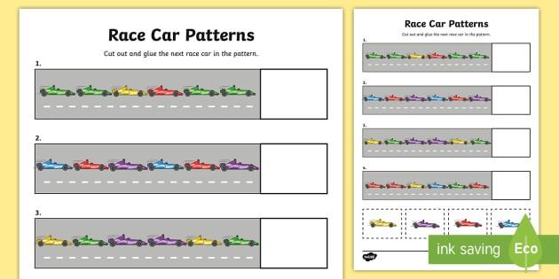 Race Car Patterns Worksheet  Worksheet Teacher Made