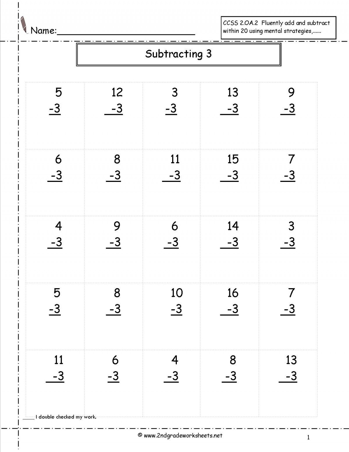 Second Grade Addition And Subtraction Worksheets ...