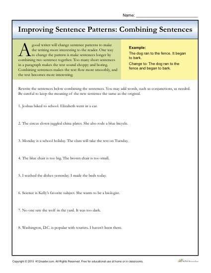 Sentence Patterns Combining Sentences