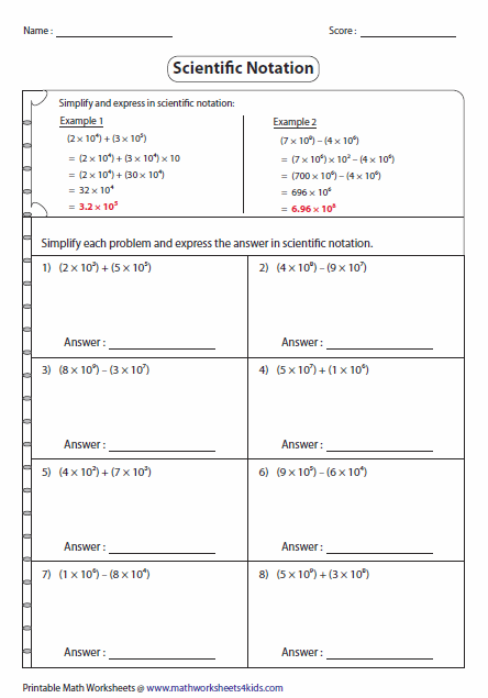 Scientific Notation Addition And Subtraction   Independent ...
