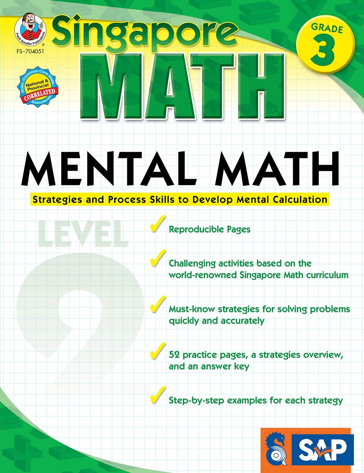 Singapore Math  Mental Math Level  Workbook For Rd Grade