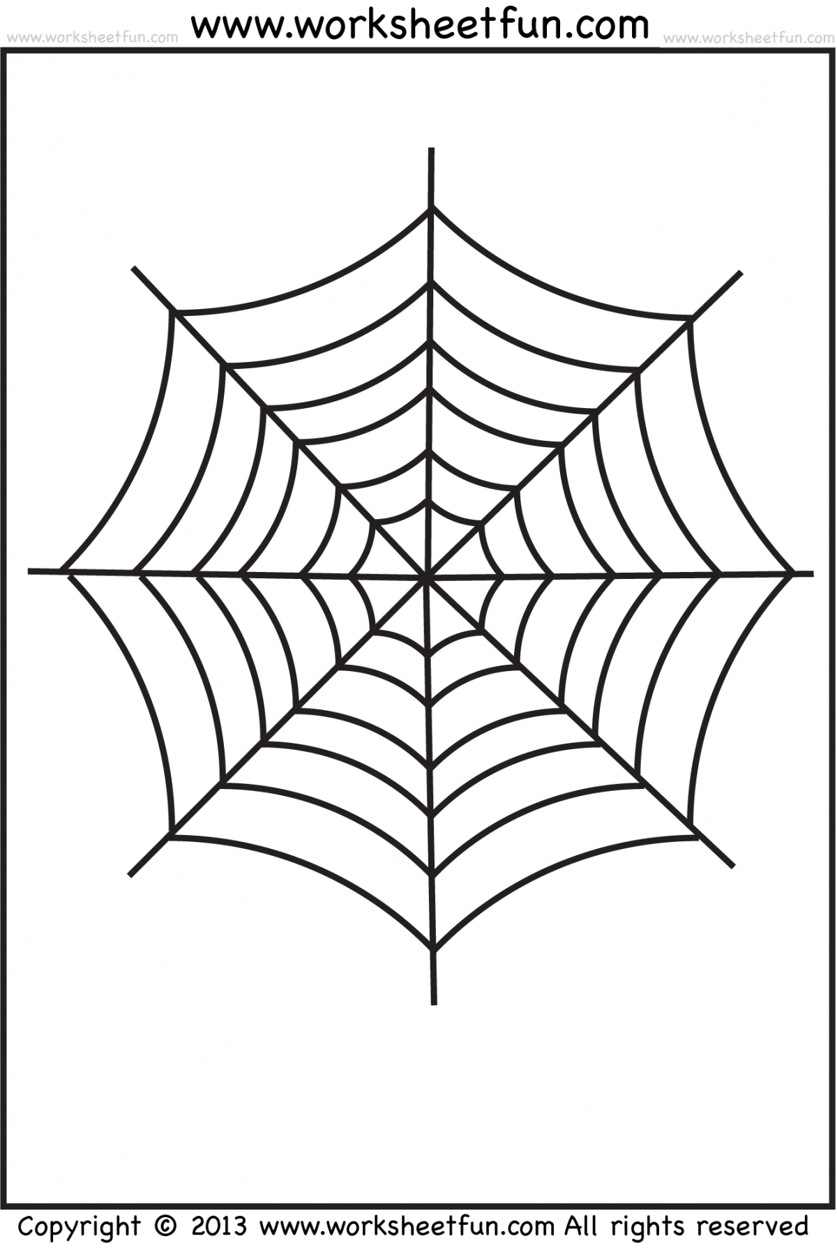 Spider Web Tracing And Coloring   Halloween Worksheets  Free