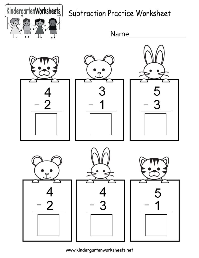 Subtracting Math Practice Worksheet