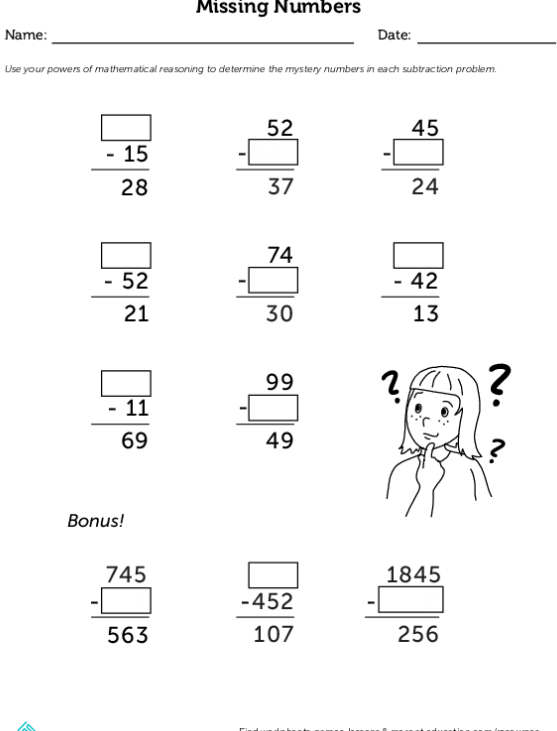 Subtraction Detectives Missing Numbers