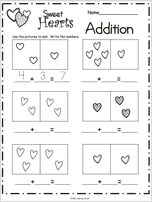 Sweet Hearts Basic Addition Worksheet