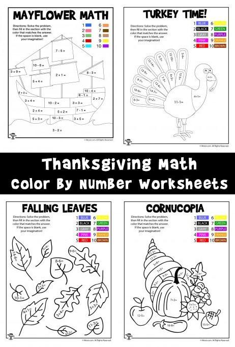 Thanksgiving Math Coloring Worksheets