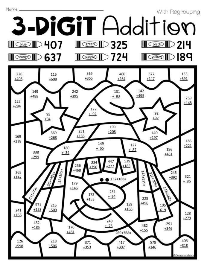Coloring Addition For 2nd Grade Worksheets | Worksheet Hero