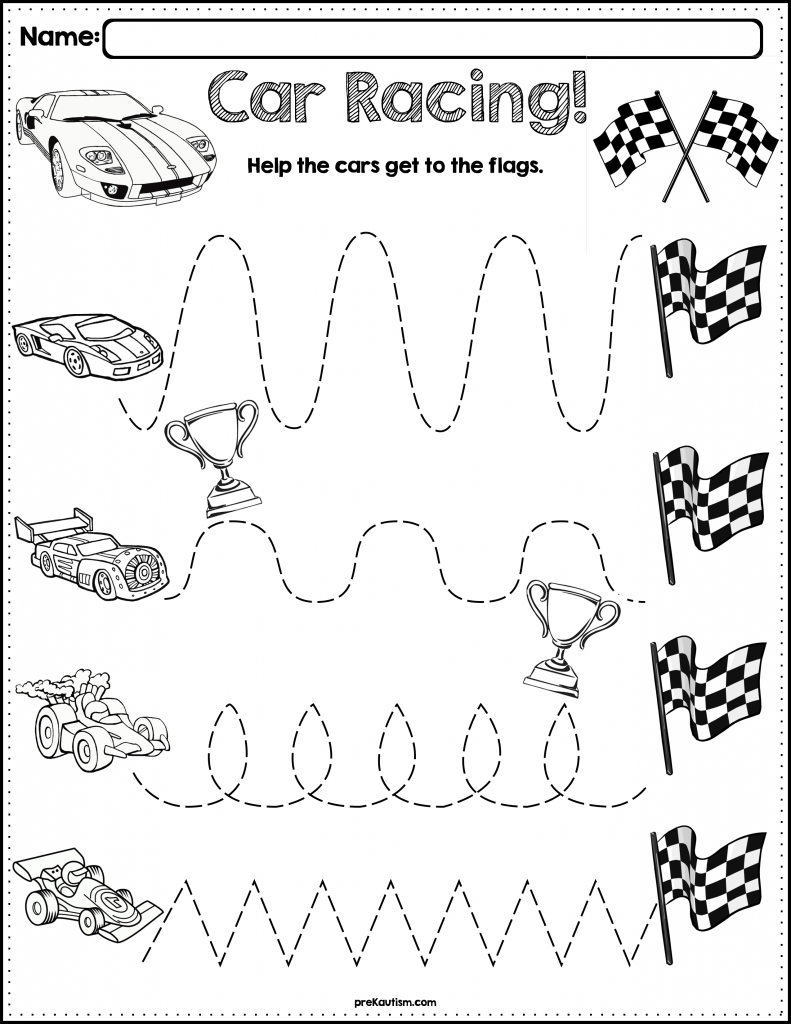 Trace The Pattern Race Car Worksheet