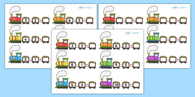 Train Subtraction Worksheets Teacher Made