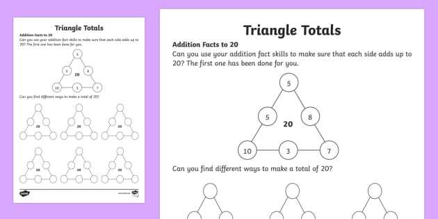 Triangle Totals Addition Facts Worksheet  Worksheet