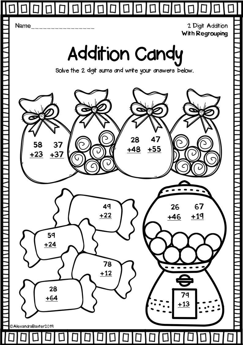 Two Digit Addition Worksheets With Regrouping