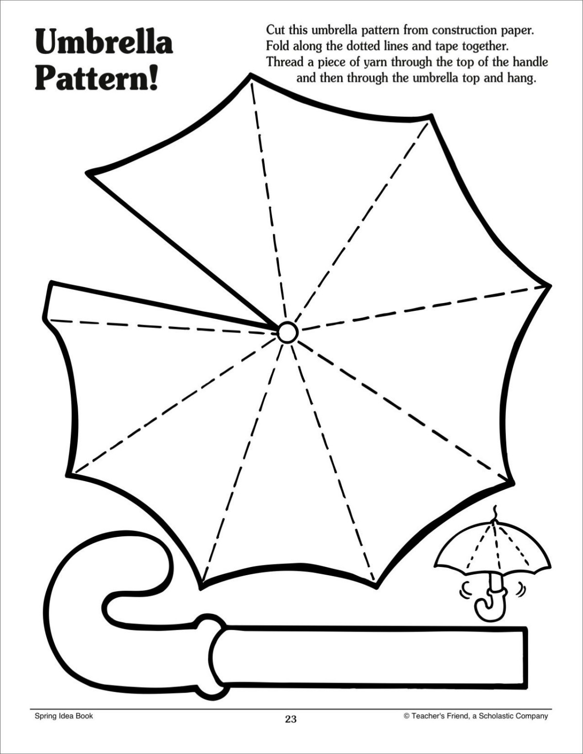 Umbrella Pattern Scholastic Printables Craft Cutting Lines