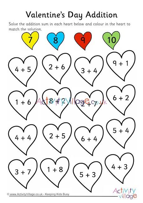 Valentines Day Addition Worksheet