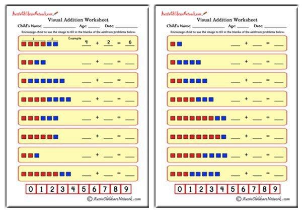 Visual Addition Worksheets