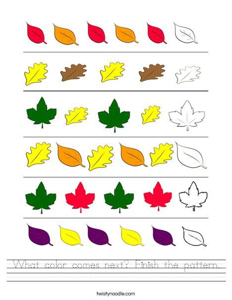 What Color Comes Next Finish The Pattern Worksheet