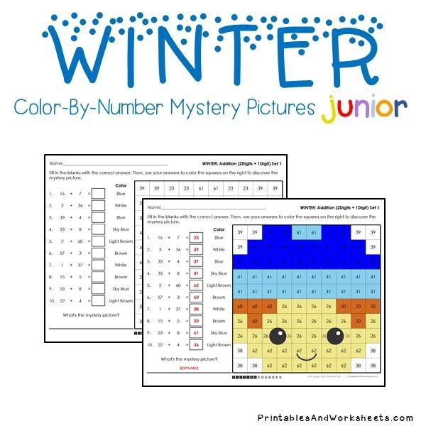 Winter Addition Facts Color