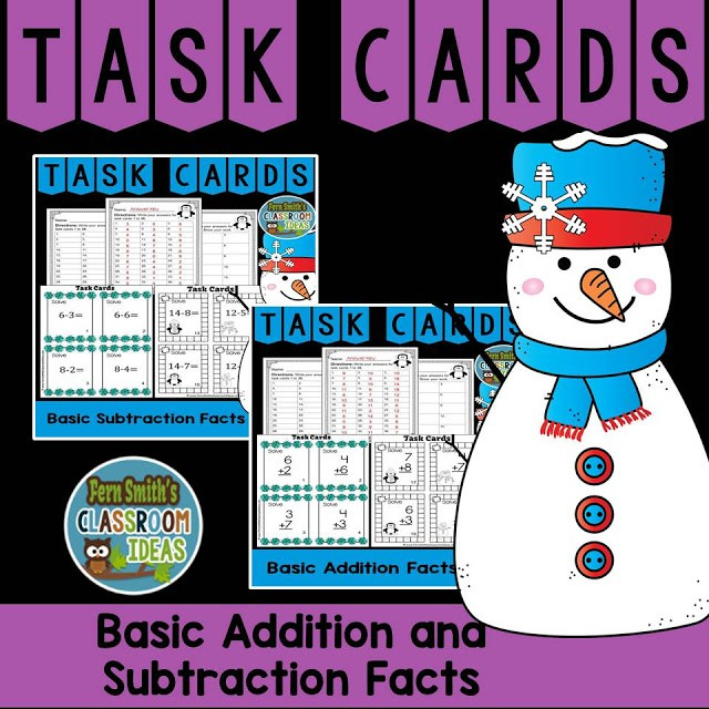 Winter Themed Addition And Subtraction Task Cards