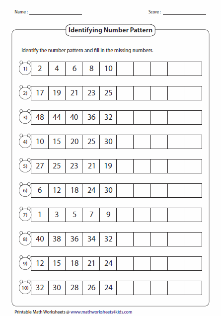 Worksheets Finding Patterns In