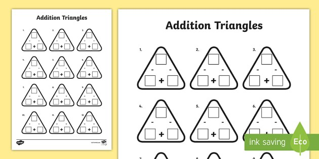 Year  Addition And Subtraction Triangles Worksheet  Worksheet