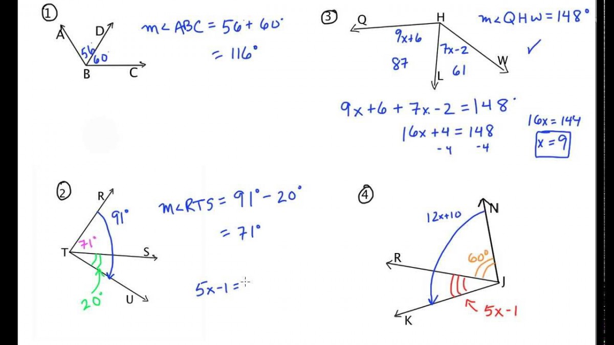 Equation Practice With Angle Addition Calculator ...