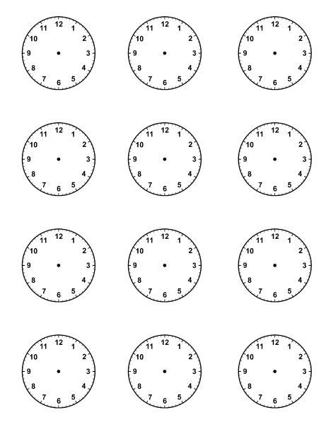 Blank Clock Faces For Picture Schedule