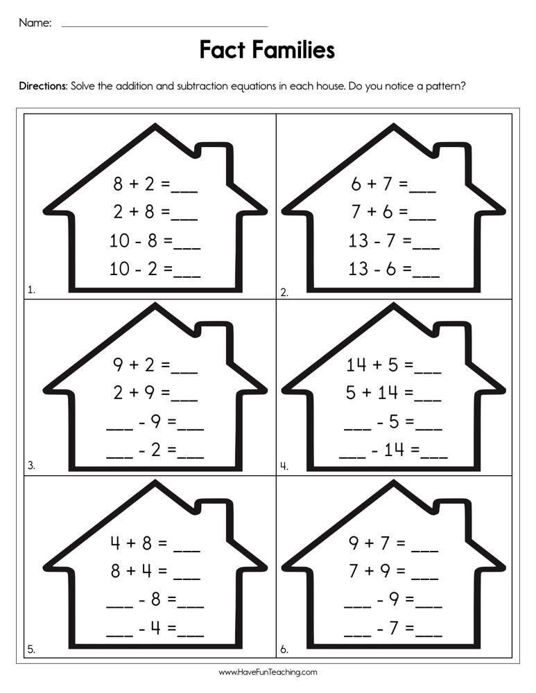 Completing Fact Families Worksheet  Have Fun Teaching