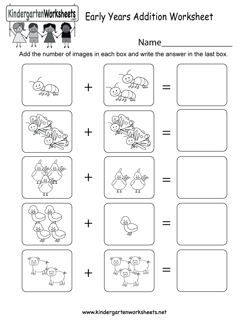 Early Years Addition Worksheet