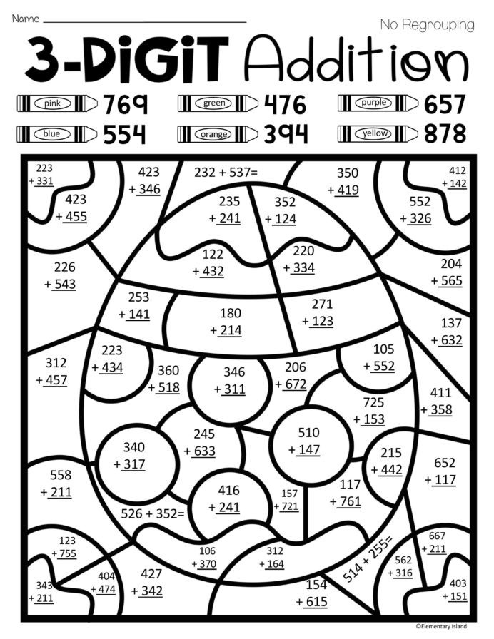 Easter Spring Three Digit Addition Color By Number With And Go