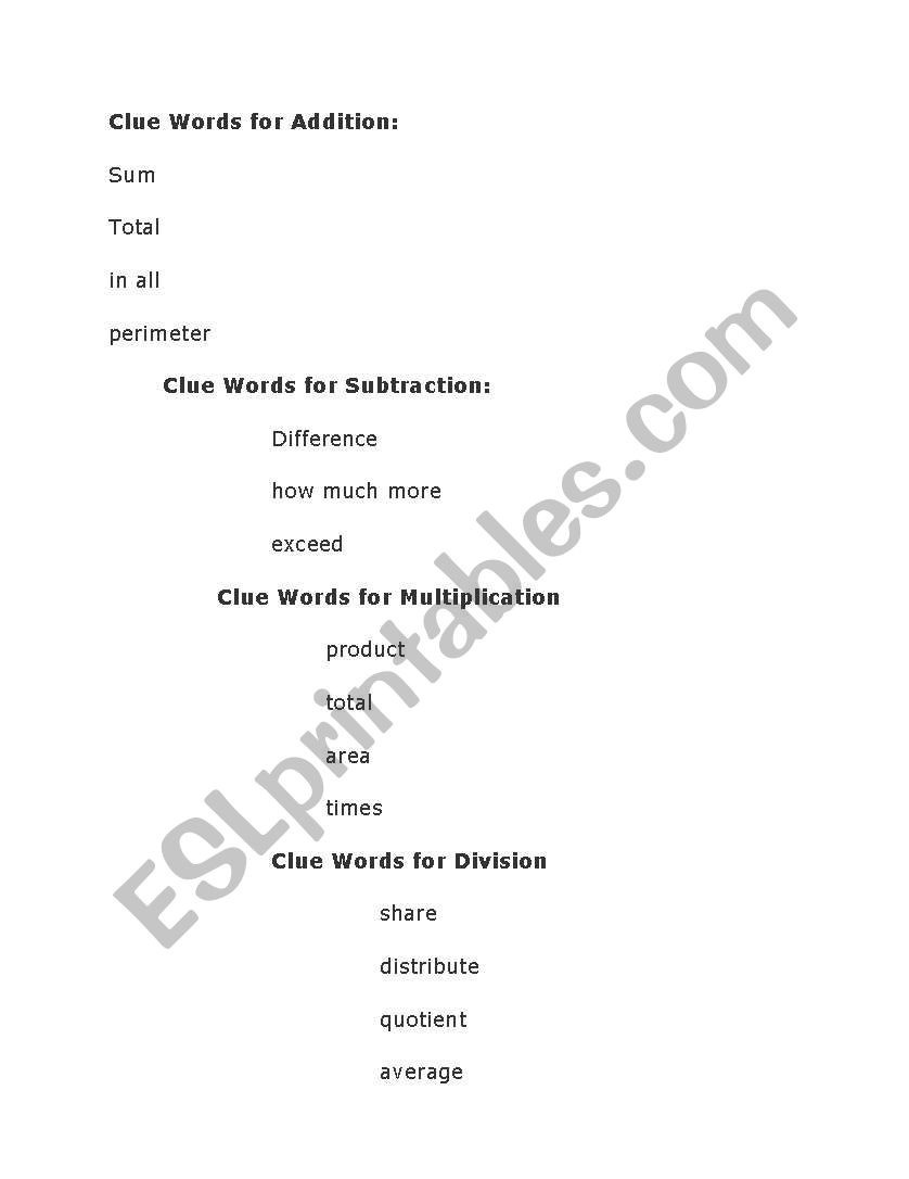 English Worksheets Clue Words For Addition