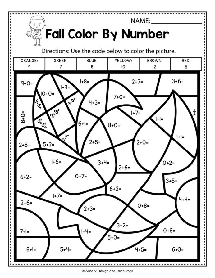 Fall Color By Number Addition Math Worksheets And For Kindergarten