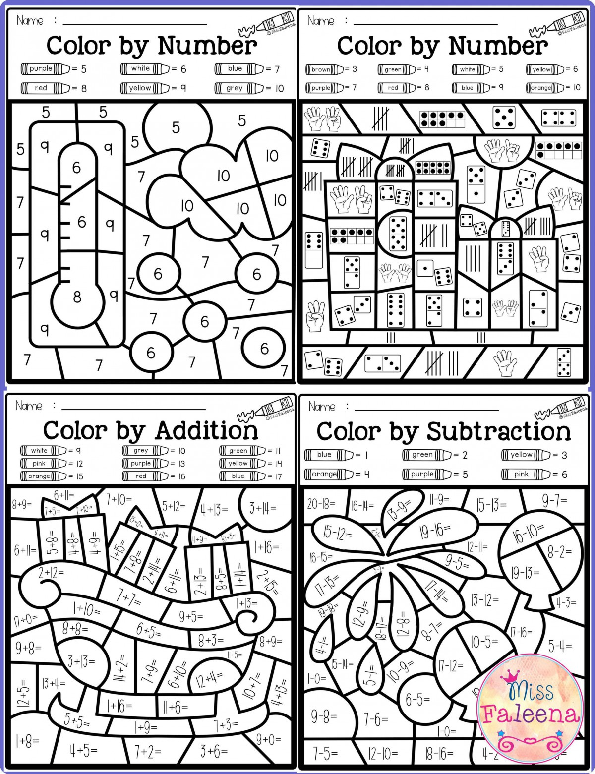 Color By Number Addition And Subtraction Worksheets ...