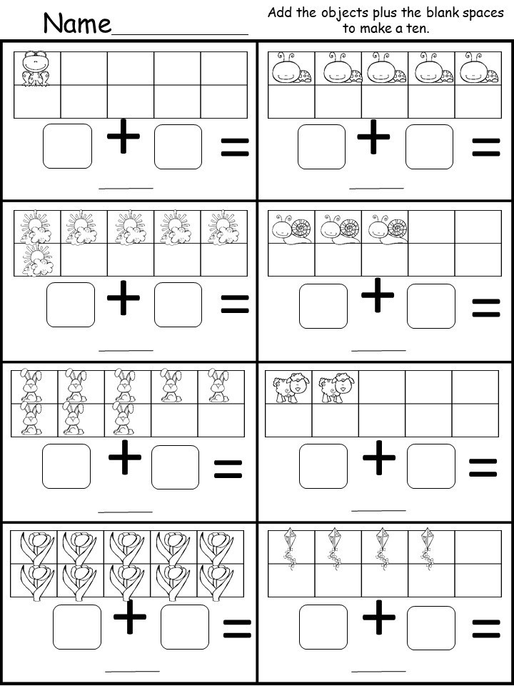 Free Kindergarten Addition Worksheet