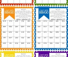 Addition Bingo Cards