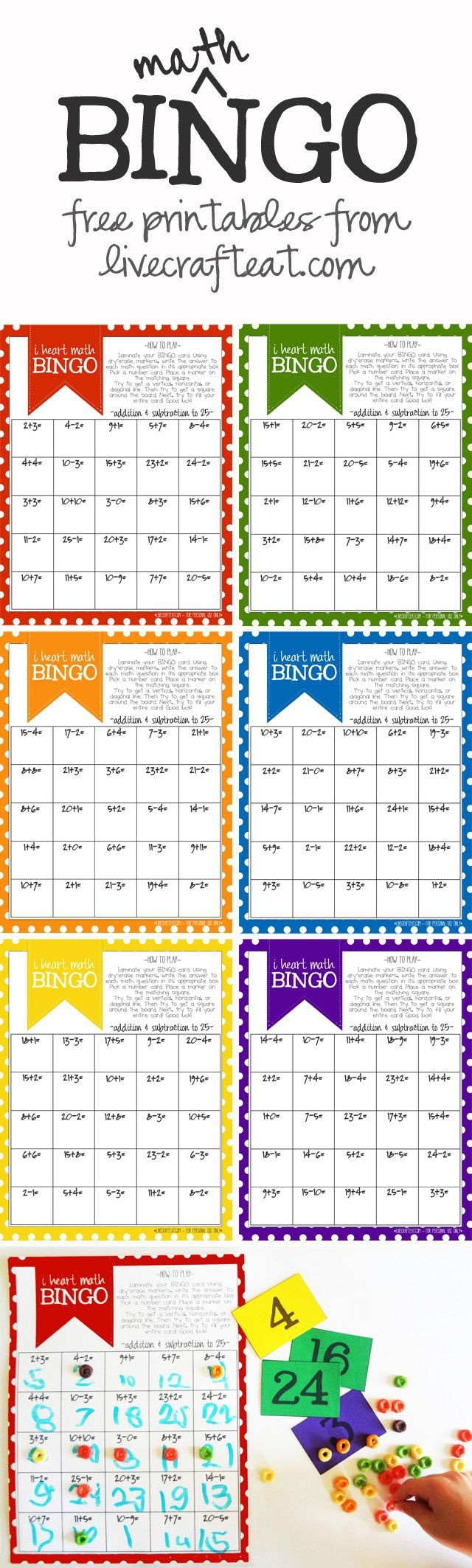 Math Bingo Printable For Kids