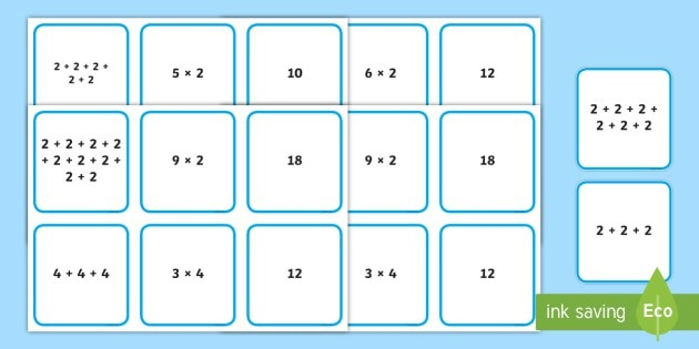 Multiplication As Repeated Addition Matching Cards