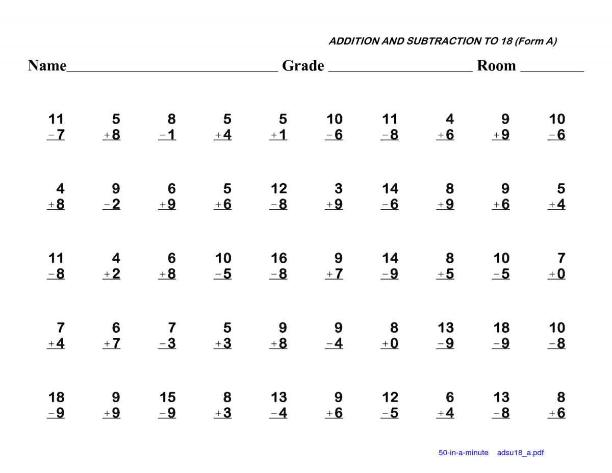 St Grade Addition And Subtraction Worksheets